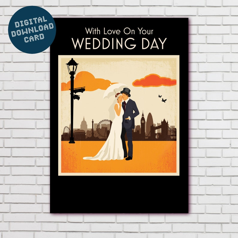 Vintage style London themed Wedding card Digital download With Love On Your Wedding Day