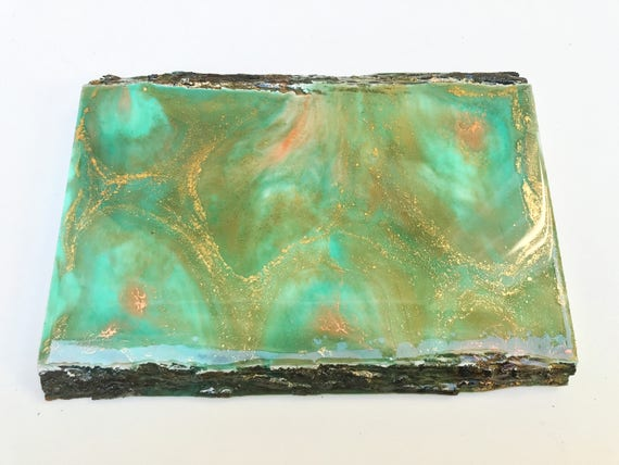 Teal Copper Edge live edge wood coaster & wall art / teal, gold, copper)