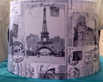 French lamp shades etsy custom french postale postcard script lamp shade aloadofball Image collections
