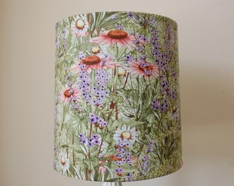 VICTORIAN LAMPSHADE WAVERLY ROSES FABRIC SAGE RUST GOLD SILK VINTAGE LOOK SHADE