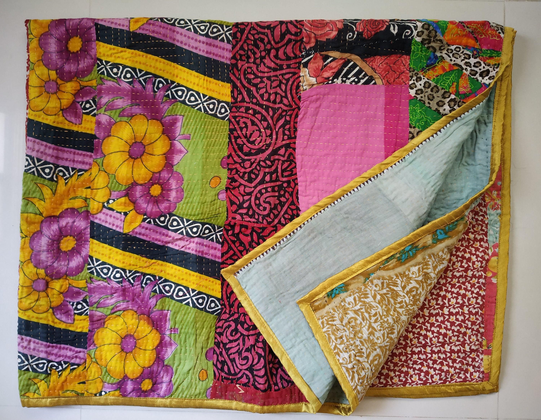 KING Vintage Indian Yellow Dot Handmade Kantha Quilt Bedspread Boho Throw Quilt