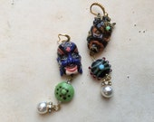 Statement ooak porcelain japanese demon masks earrings, vintage rare beads
