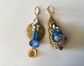 Reserved Claire, Ooak porcelain japanese earrings, blue song, vintage gold brass coins, rare cabochons