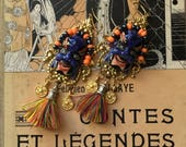 Incredible porcelain japanese demon masks earrings, silk tassells, vintage gold brass coins