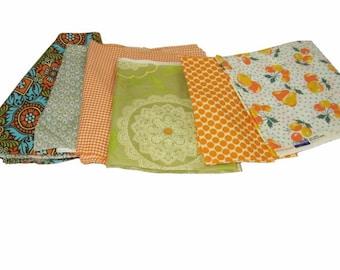 FABRIC SCRAPS -Orange & Green Theme- Reminants Over 3 Lbs
