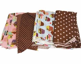 Scrap Fabric -Cupcakes & Polka DotsTheme #2 -remnants over 3lbs