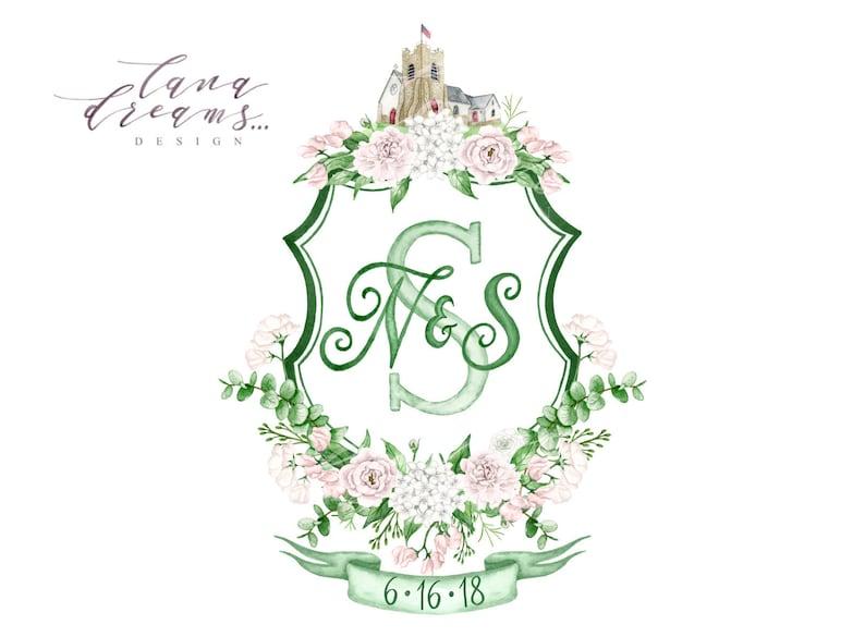 Watercolor Crest HandPainted Heraldry Wedding Logo Digital Only Vintage Wedding Monogram Wedding Monogram Custom Wedding Crest