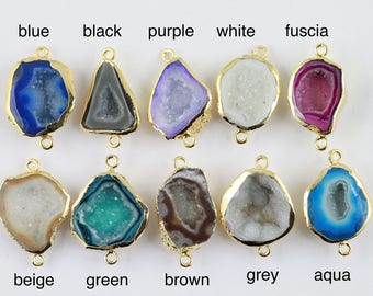 Silver Plated Pendant,Geode Stone Pendant,Agate Pendant,Sugar Well Window Druzy Natural Gemstone Pendant,Connector Supply Making Charms 5