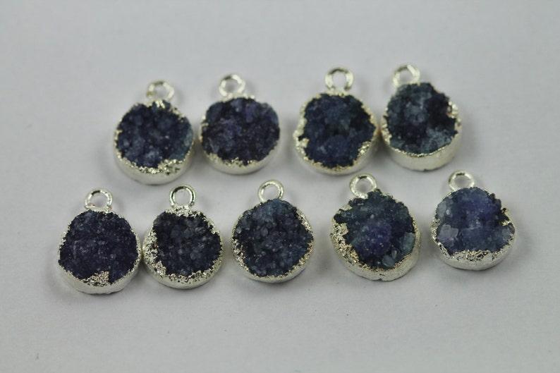 Blue round Druzy Silver Edged Natural Gem Stone Pendant