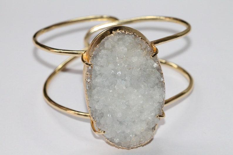 40-50 MM natural white druzy gemstone bracelet