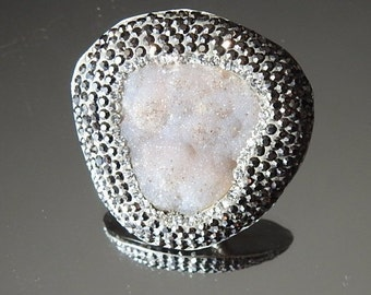 feb3d1f33 Druzy / Marcasite, Sterling Silver, Grey Druzy, Statement Ring, Stamped  925, Vintage Jewelry, Ladies Fine Jewelry, Womens Ring. Size 6 3/4