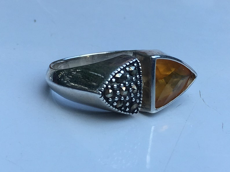 Yellow Citrine Trillion Cut Gemstone with Marcasite Accents Set in Sterling Silver Size 7 12 Ring Fine Vintage Ladies Classic Woman Jewelry