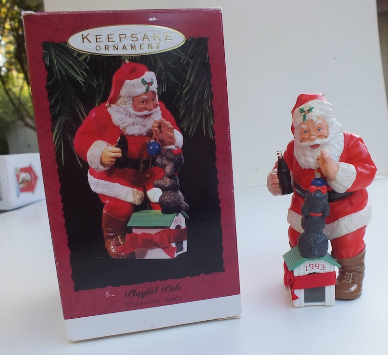 Vintage Hallmark Keepsake Christmas Ornament Playful Pals Coke Cola Santa  Claus With Poodle Holiday Figurine From 1993, Free Shipping in USA