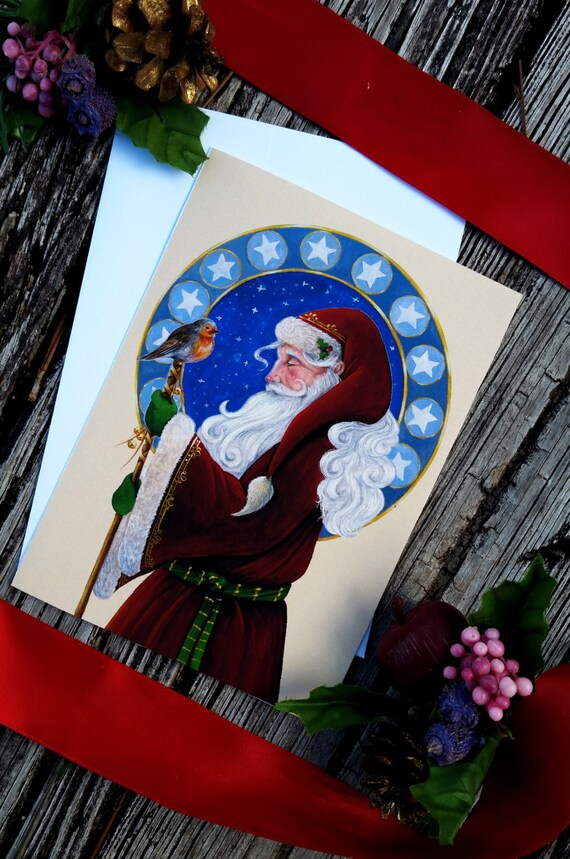 Santa Claus with Winter Robin Christmas Cards with Envelopes | Etsy