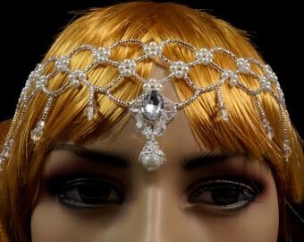 Silver Czech glass beaded Gatsby headdress. 1920s silver beaded fringe headdress. 20s beaded silver tiara. Gatsby beaded fringe tiara