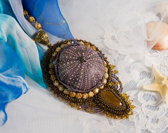 Pendant with natural Sea Urchin and tiger eye crystal. Bead embroidered pendant.