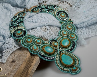 Bead embroidery OOAK statement necklace The blue Peacock with Blue howlite stones