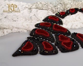 Classic red and black Bead embroidery OOAK statement necklace The flame of Hell with Dichroic glass. B.O.T.B'14 battlepiece