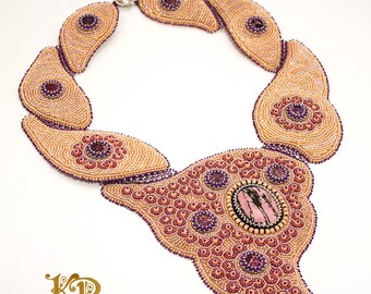 Bead embroidery OOAK statement necklace Late Orchid with natural rhodonite and dyed jaspers