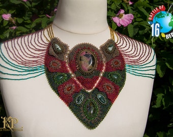 Bead embroidery OOAK statement necklace Wilde Rose Univers with natural rhodonite, aventurine, moss agate and cornelian stones