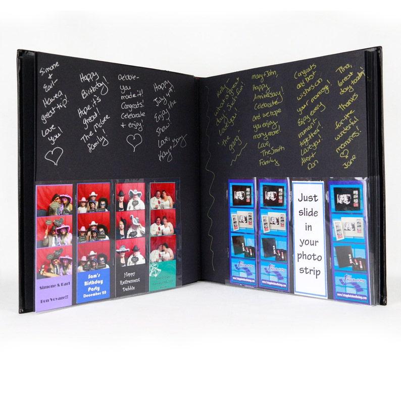 Photo Booth Album /Slip In/Bookbound 40pg Black Leather w/2x6 image 0
