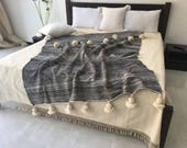 Gorgeous Wool Pom Pom Blankets made by Berber Weavers , handloomed, pompom blanket, moroccan throw ,Bed spread, Bed cover.