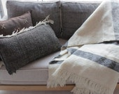 Moroccan 100 Wool Weave Up , hand-loomed throw , Soft Wool throw, Throw with fringe, Cream wool blanket.