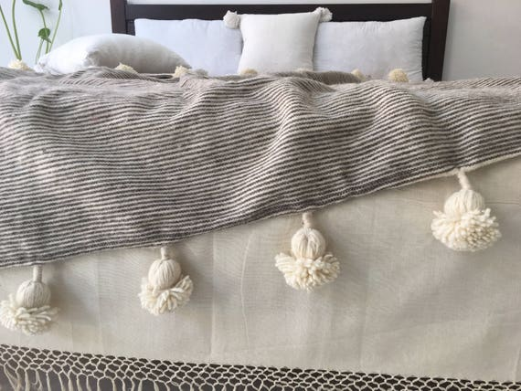 Wool blanket Hand woven,Handmade Moroccan Pom Pom blanket and throw,Size 118X78 inches Bohemian Boho Bed cover. Bed spread Berber