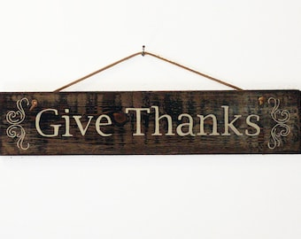 Give Thanks Rustic Wooden Sign