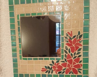 Square mirror mosaic flowering branch