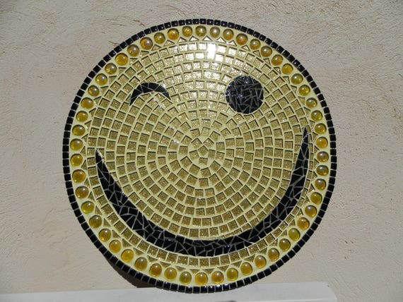 Smiley Mosaic Yellow Glitter Black Vétrocristal Glass Beads