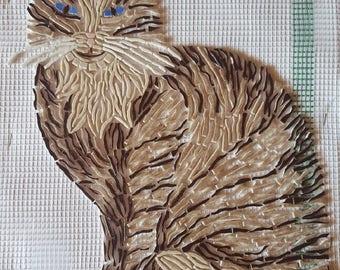 Cat mosaic enamels of briare exterior wall decoration