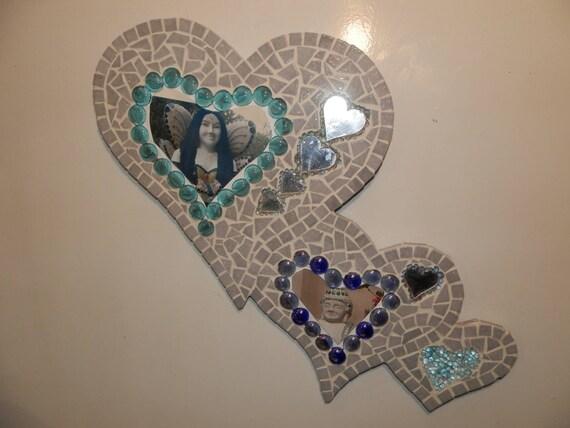 Mosaik Spiegel Rahmen Für Fotomosaik Form Herz Deine Grauen Und Blauen Fantasie