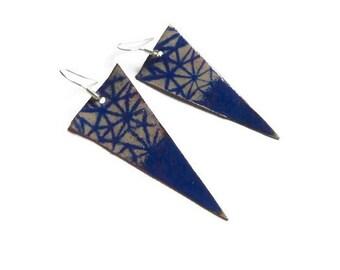 Graphic earrings blue, copper enamel, blue earrings, graphic, modern earrings, geometric earrings