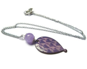 hot air balloon, violet and purple enameled copper necklace