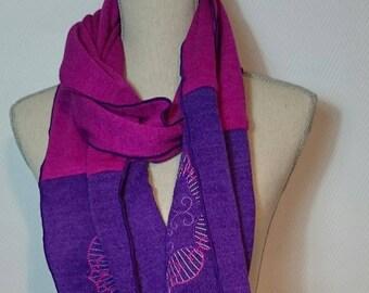 Two-tone fancy embroidery stitch scarf.