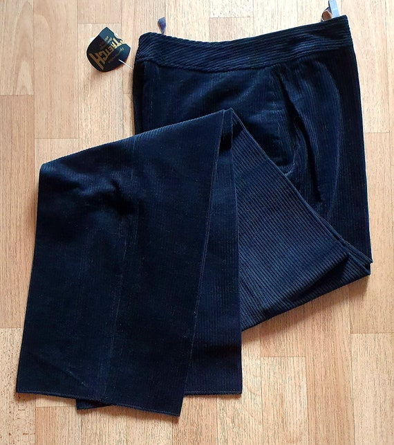 Cord pants trousers pleated trousers black size 38