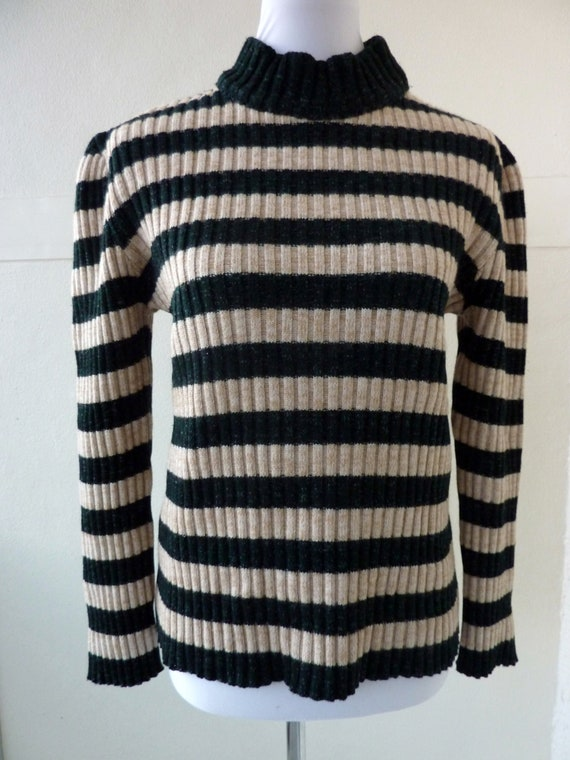 Wool Winter Sweater green stripes Mens Turtleneck