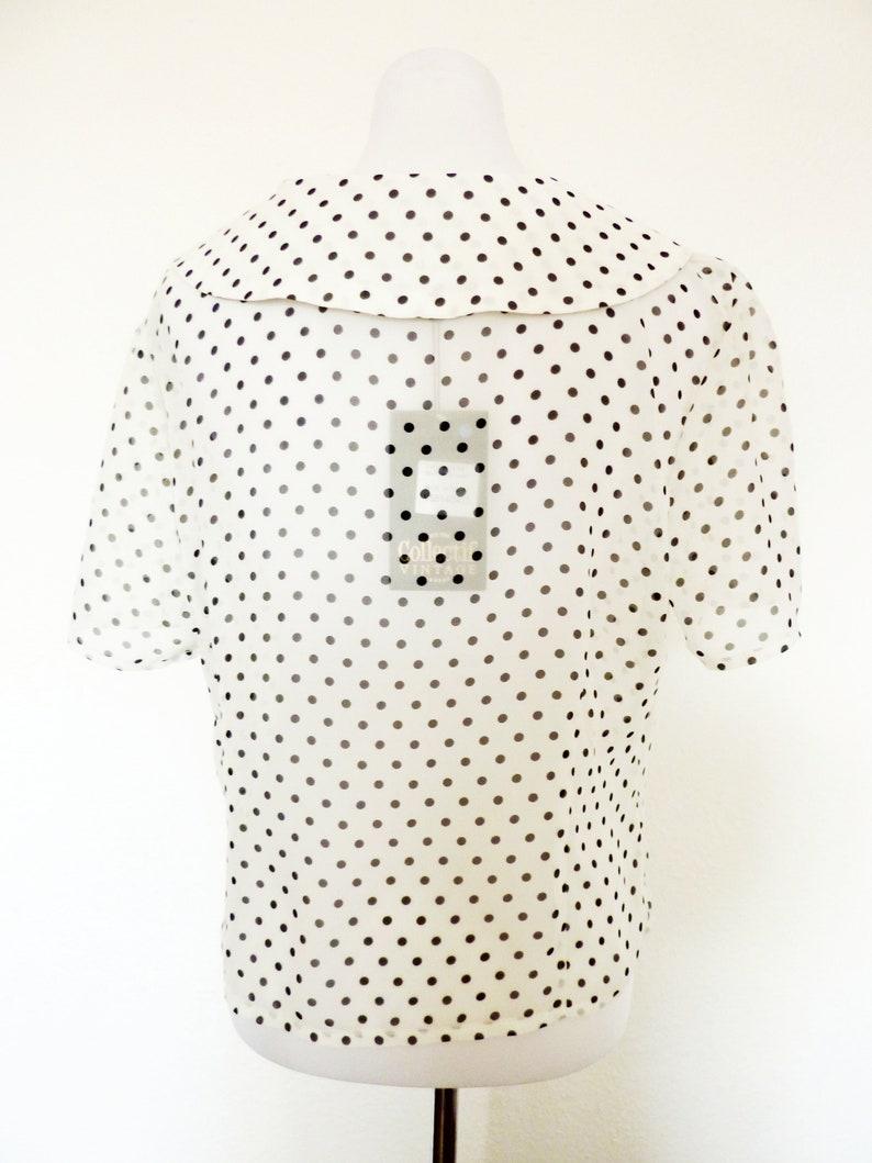 Transparent Chiffon Blouse Tunika Shirt Blouse Chiffon Peter Pan Collar creme Steampunk Lolita Look 42 M L