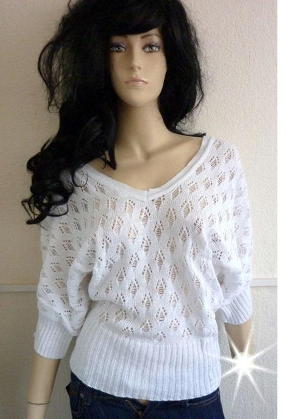 Sweater Knit Lace Pattern Oversize Batwing Sleeve