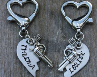 Thelma and Louise Friendship Key Chains - Thelma and Louise Key Chains - Set of Two Key Chains - Best Friend Key Chains