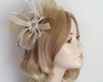 CHOCOLATE BROWN and IVORY Fascinator chiffon Flower feathers on clip Diamond Crin
