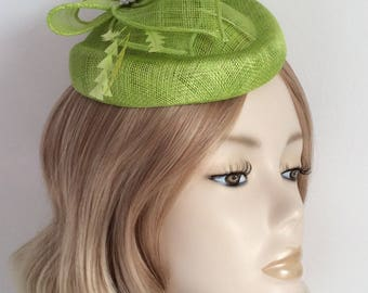 LIME GREEN PILLBOX Hat, Made of Sinamay, feathers, Crystal and pearl detail, hat elastic