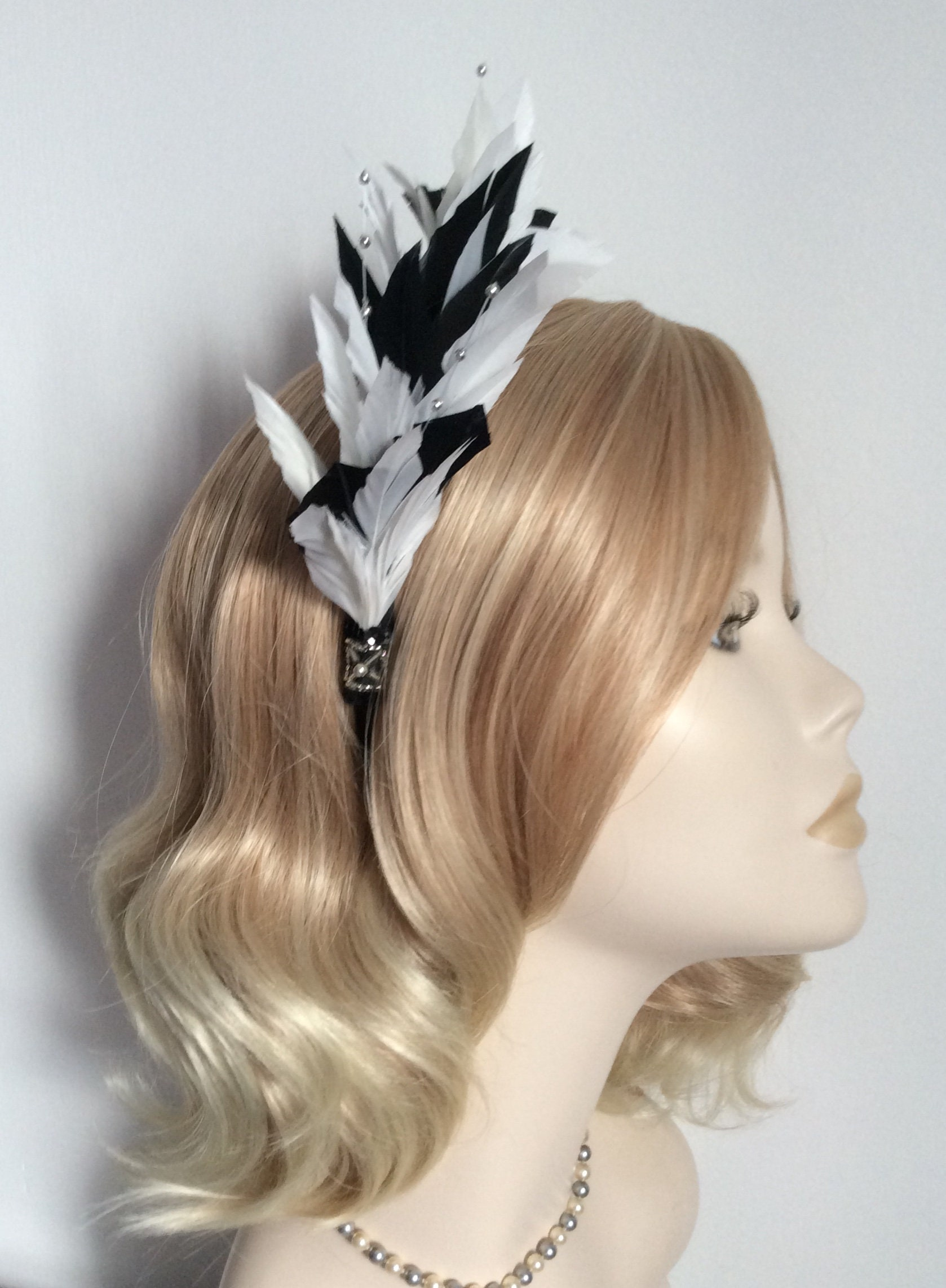 Touch of Silver FASCINATOR With feathers A BLACK and WHITE on a satin headband