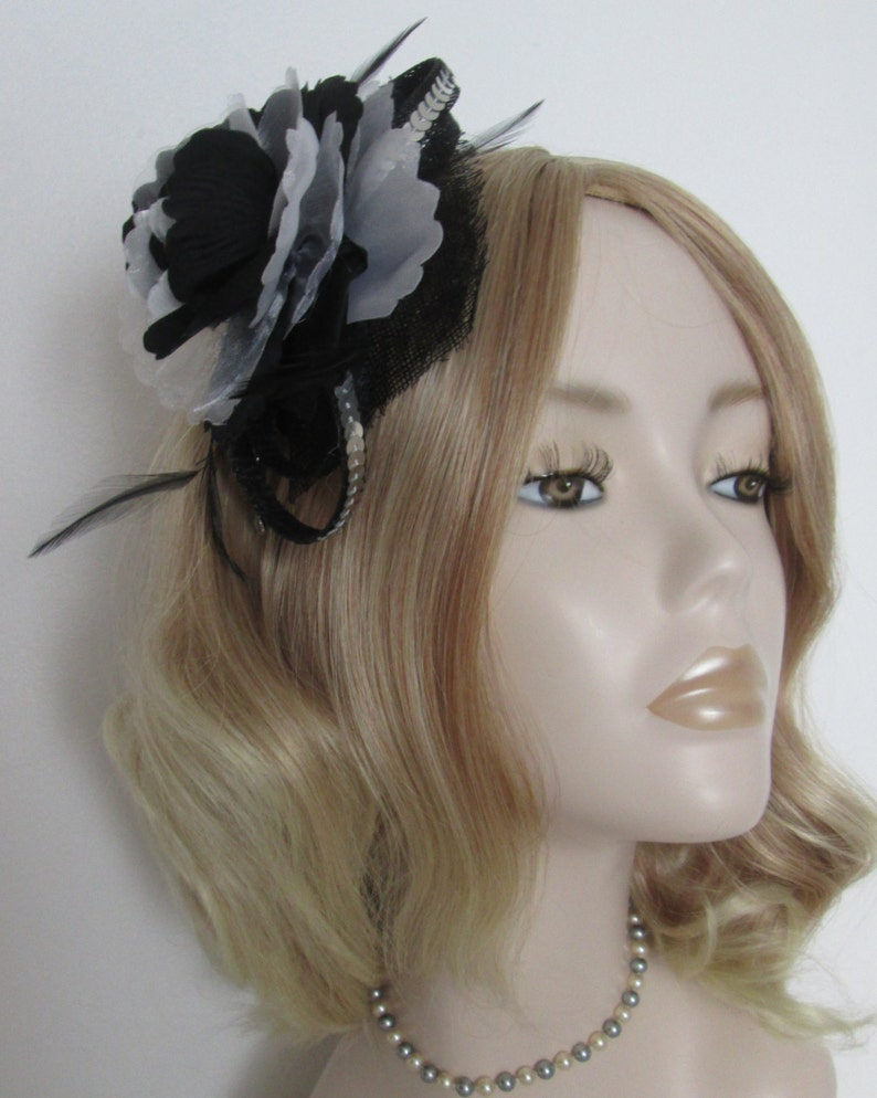 BLACK WHITE and SILVER Fascinator Made of sinamay Organza  132a1216b1b