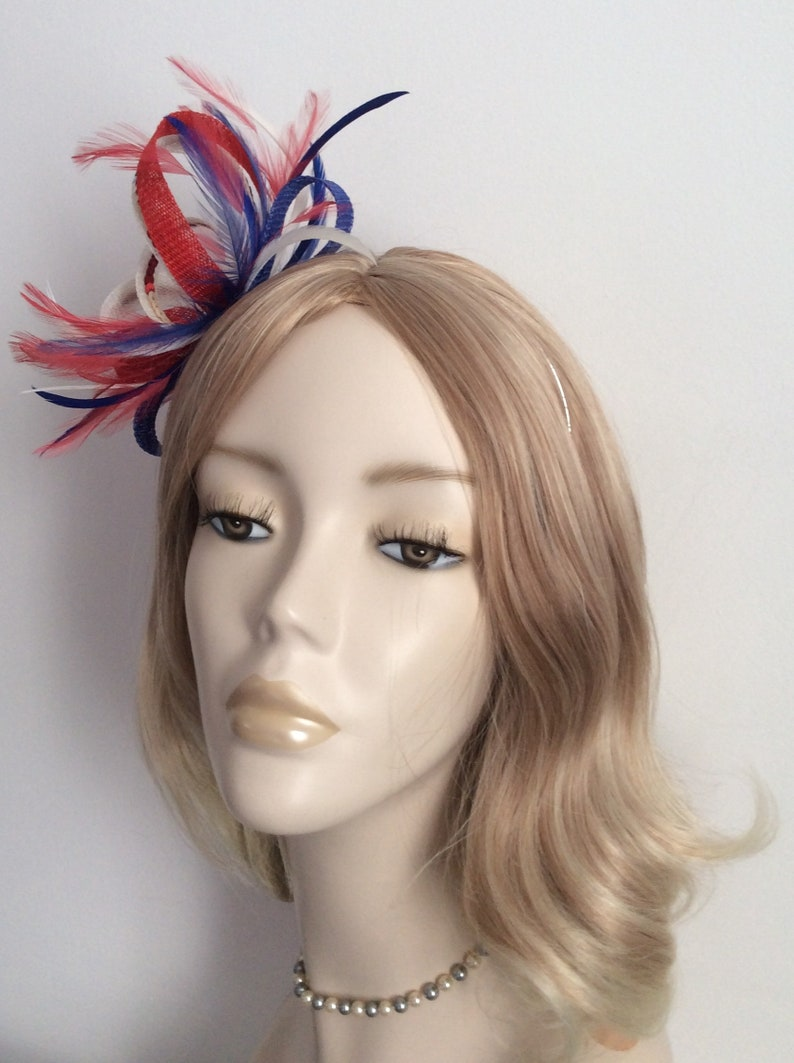 3mm silver headband SINAMAY and SEQUIN FASCINATOR Blue and White Colour Red With biot and hackle feathers