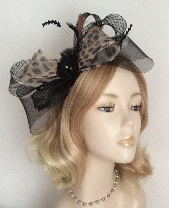 BLACK and LEOPARD FASCINATOR Made with Crin chiffon flower  953aa31c48b
