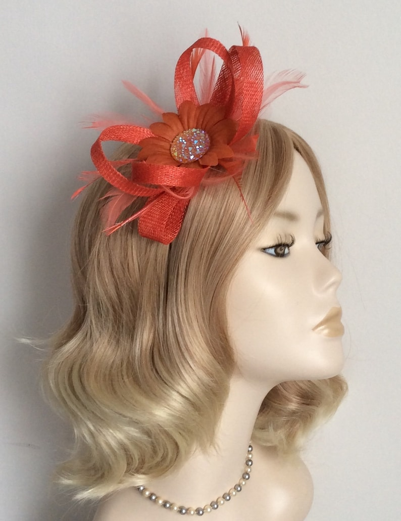 CAN BE CUSTOM MADE WHITE /& ORANGE  SINAMAY AND FEATHER FASCINATOR
