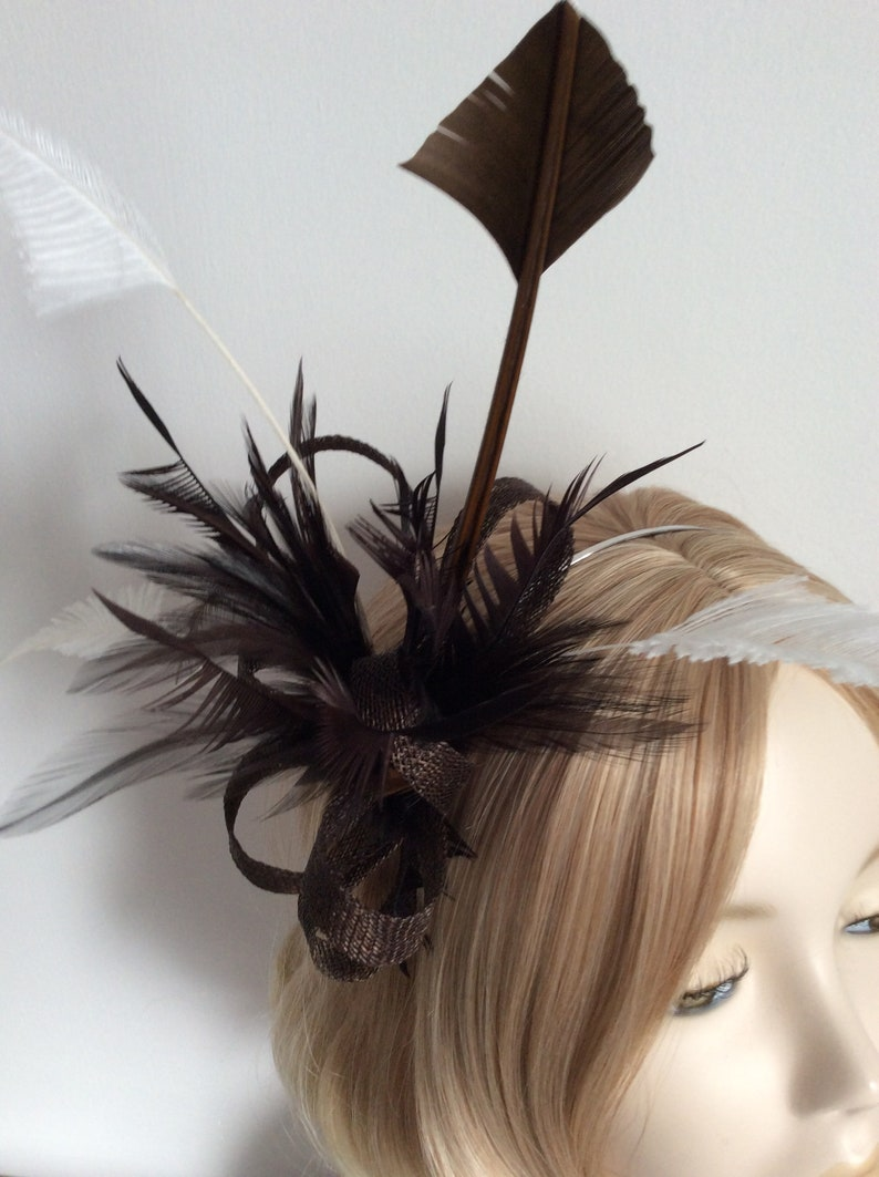 on a headband CHOCOLATE BROWN and IVORY Fascinator Made with Sinamay feathers