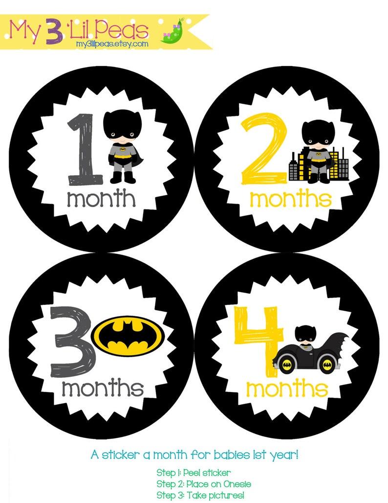 aae0c62916fa Printable Bundle Cute Batman Monthly Onesie Stickers 1-12